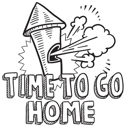 Doodle style time to go home from work illustration in vector format  Includes text and blowing whistle  Stock Vector - 18476658