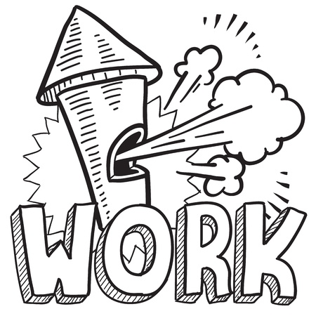 break in: Doodle style work is done whistle illustration in vector format  Includes text and blowing whistle