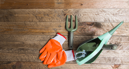 Gardening equipment Including a fork, spoon, watering tank, pruning scissors and gloves. All are laid on a vintage brown wood floor.