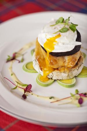 haddock: Stornoway black pudding smoked Scottish haddock poached egg on potato scone with cream leek