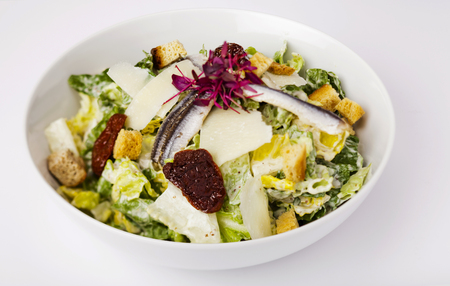 matured: Anchovy salad with cheddar matured cheese, dried tomato and bread cubes