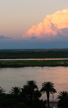 sunset over the parana river