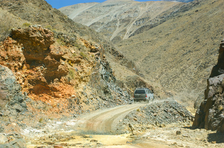 crossing in 4 x 4 by roads off route in the Argentine north between the mountains, valleys and rivers Banco de Imagens