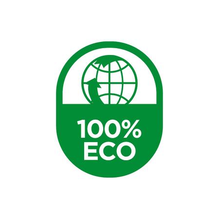 100% Eco icon. Vector illustration. Çizim