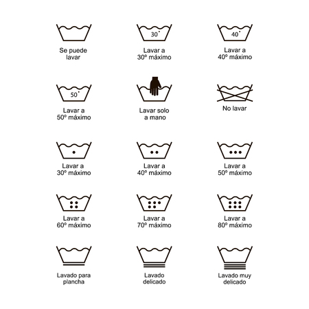 Icon set of laundry symbols, vector illustration print label cloth. Written in spanish