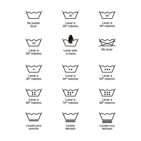 Icon set of laundry symbols, vector illustration print label cloth. Written in spanish