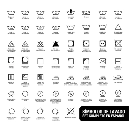 Icon set of laundry symbols, vector illustration print label cloth. Written in spanish Stockfoto - 99012736