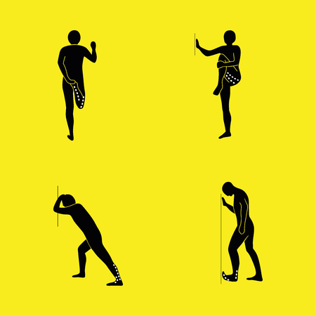 Stretching Exercise Icon Set to stretch arms, legs, back and neck. Vector silhouette.
