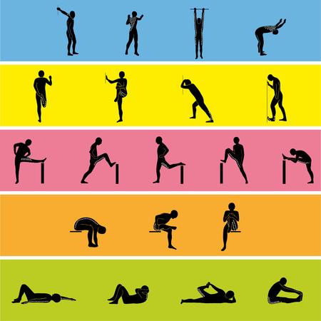 Stretching Exercise Icon Set pour étirer les bras, les jambes, le dos et le cou. Silhouette vecteur. Banque d'images - 99117954