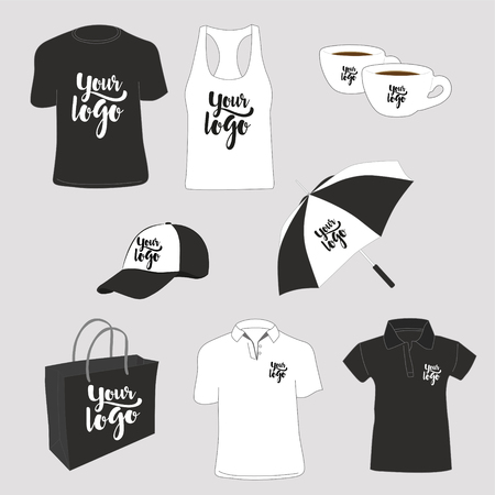 Promotional items. T-shirts, polo shirt, tank top, paper bag, cups, cap and umbrella. Vector illustration.