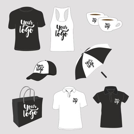 Articoli promozionali. T-shirt, polo, canotta, busta di carta, tazze, cappello e ombrello. Illustrazione vettoriale