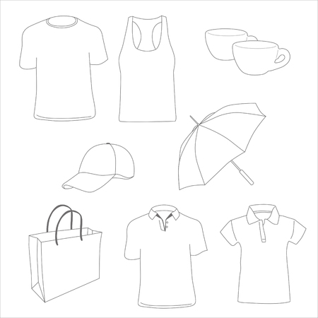 Promotional items. T-shirts, polo shirt, tank top, paper bag, cups, cap and umbrella. Vector illustration. Banco de Imagens - 99814589