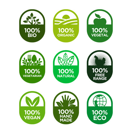 Healthy food and healthy life icons set. 100% Organic.