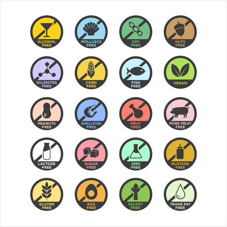 Allergen icons set. Color. Vector illustration.