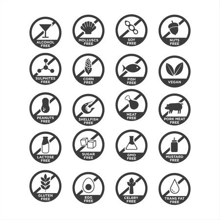 Allergen icon set. Vector illustration. Vettoriali