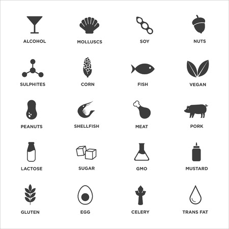 Allergen icon set. Vector illustration. Stock Illustratie
