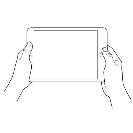 Hands holding a tablet touch devices. Simple outlined vector icon. White background.