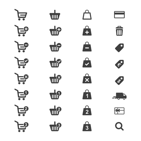 Web icon set vector. Shopping cart, basket and bag, credit card, shipping truck and more. Vettoriali