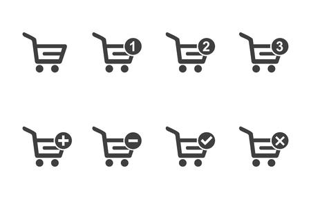 Shopping cart icon set vector. Vettoriali