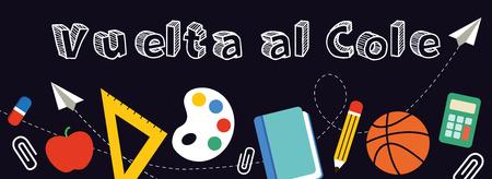 Back to School banner written in Spanish, vector illustration.