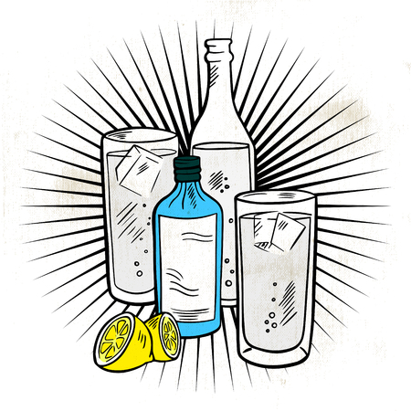 Hand drawing of alcoholic drinks. Line drawing in color.