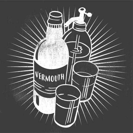 Vermouth set. Handmade drawing for menus, blackboards and decoration of bars, pubs and restaurants. Stock Illustratie