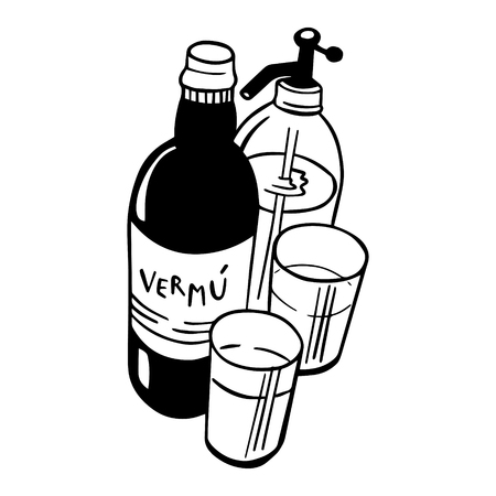 Conjunto de vermut. Dibujo hecho a mano para menús, pizarras y decoración de bares, pubs y restaurantes.