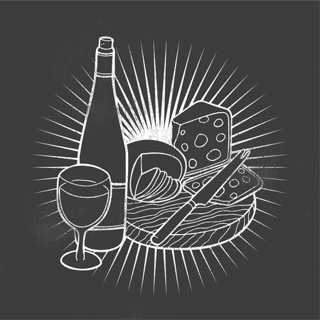 Cheese and wine. Hand-made drawing for menus, blackboards, posters and decoration of bars, clubs, pubs and restaurants. Stock Illustratie