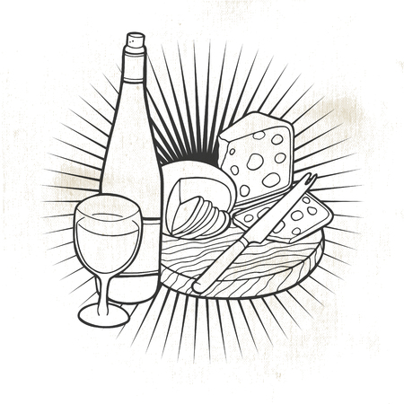 Cheese and wine.Hand-made drawing for menus, blackboards, posters and decoration of bars, clubs, pubs and restaurants. Stock Illustratie