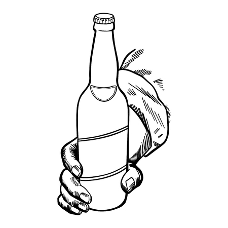 Craft beer. Bottle held by a hand. Hand-made drawing for menus, blackboards, posters and decoration of bars, clubs, pubs and restaurants.