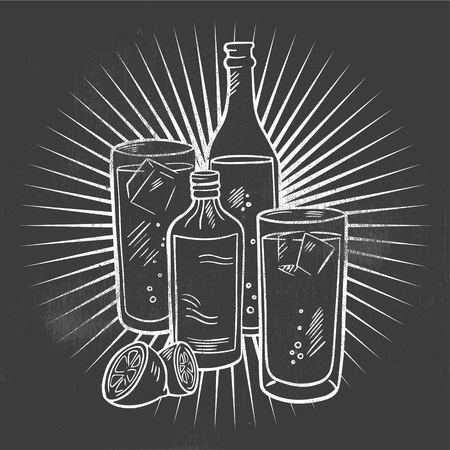 Hand drawing of alcoholic drinks. Line drawing in black and white.