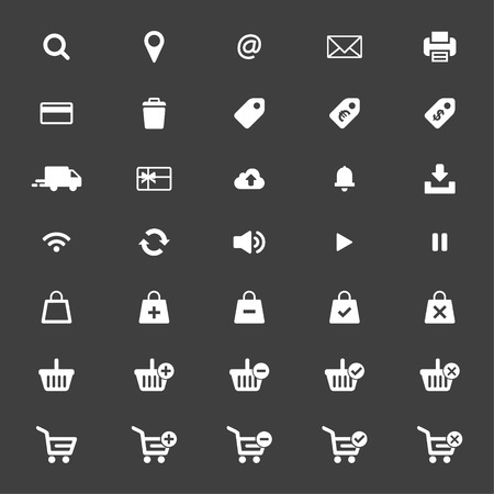 Web icon set vector. Shopping cart, basket and bag, credit card, shipping truck, print, email, wifi, cloud, location and more. 矢量图像