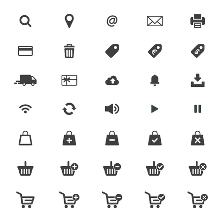 Web icon set vector. Shopping cart, basket and bag, credit card, shipping truck, print, email, wifi, cloud, location and more. Vettoriali