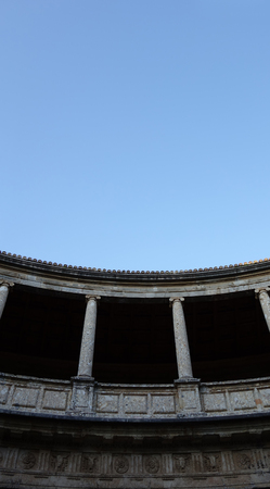 Detail of Carlos V Palace in the Alhambra, Granada. Spain. Editoriali