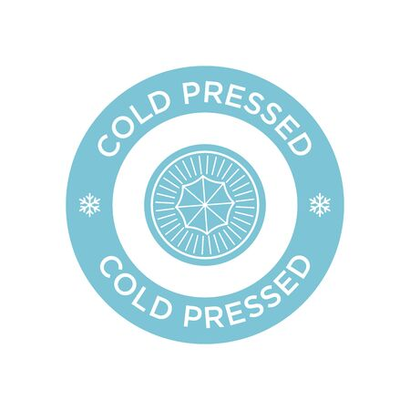 Cold pressed icon for labels of juices, oils and other products. Round and blue symbol. 矢量图像