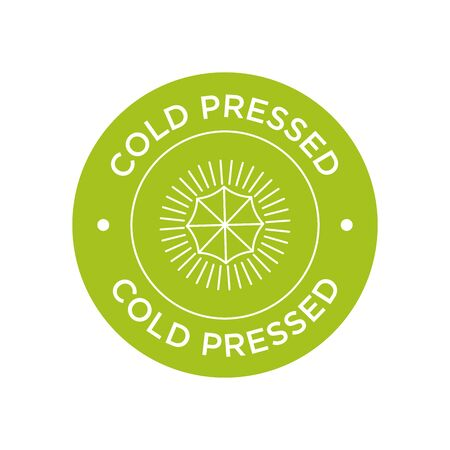 Cold pressed icon for labels of juices, oils and other products. Round and green symbol.