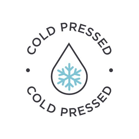 Cold pressed icon for labels of juices, oils and other products. Round symbol. 矢量图像