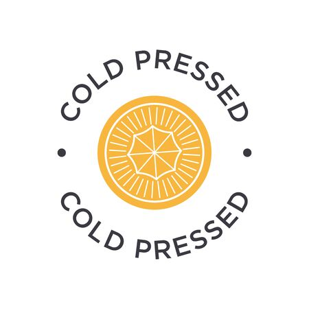 Cold pressed icon for labels of juices, oils and other products. Round and orange symbol. 矢量图像