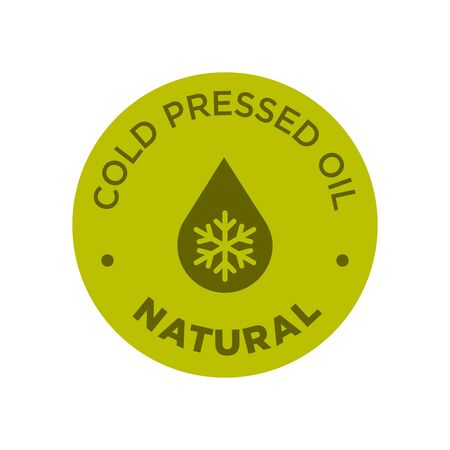 Cold pressed oil icon. Round and green symbol.