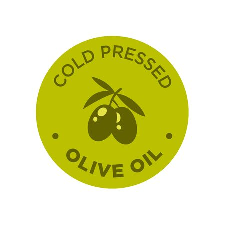 Cold pressed olive oil icon. Round and green symbol. 矢量图像