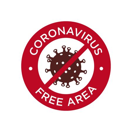 Coronavirus free area icon. Round symbol for disinfected areas of covid-19.