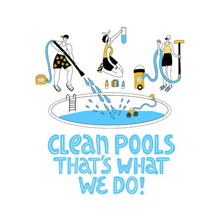 Pool maintenance. Happy business people. Business teamwork concept. Pool service equipment. Hand drawn lettering.