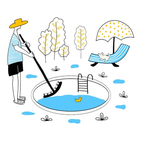 Pool maintenance. Happy business people. Business teamwork concept. Pool service equipment. 矢量图像