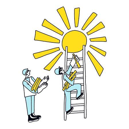 Future career concept. Solar Energy Technician. Illustration