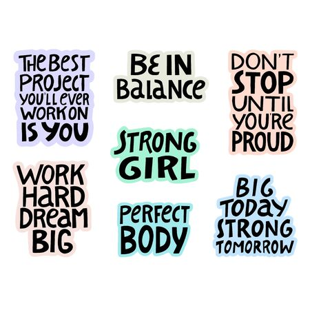 Set of hand lettering quotes about fitness and healthy.