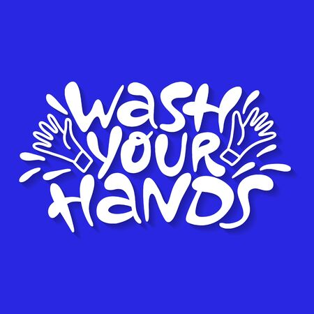 Wash your hands- hand drawn lettering Иллюстрация