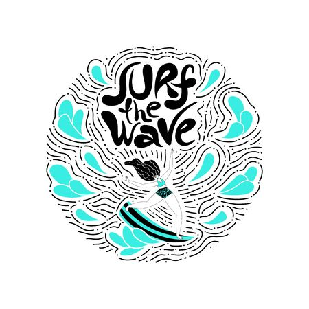 Surf the wave - hand drawn lettering