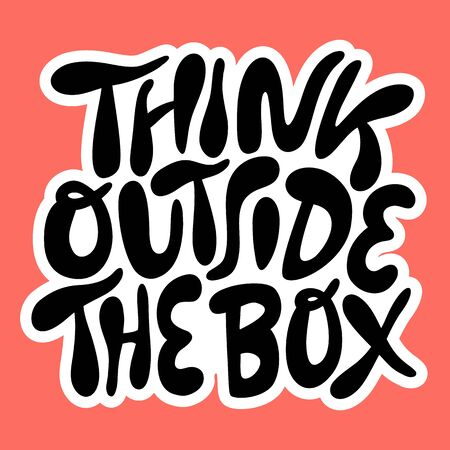 Think outside the box- hand drawn lettering. Иллюстрация