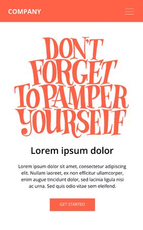 Do not forget to pamper yourself. Hand-drawn lettering quote for Welness center. Good for promotions, packaging, print, design element. Vector lettering for web email promotions and landing pages.