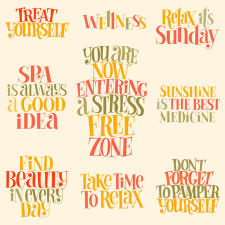 SPA set. Hand-drawn lettering quote for SPA, Wellness center, Wellbeing concept. Typography for merchandise, social media, magazines, interior, home decoration, posters, web design element. Vettoriali